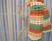 Crochet Scarf of Peach, Coral, Green and Off White Stripes