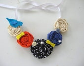 rosette ribbon bib necklace/ choker.. flowers birds and bows.