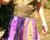 Girls dress, pixie dress, rag skirt dress, green and purple