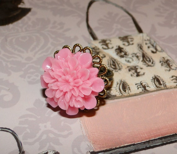 Pink Mum Flower Vintage Inspired with Adjustable Copper Filigree Ring Band