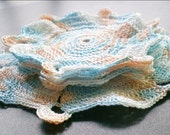Crochet Coasters, Set of 5, for Cups and Bottle, Orange, Blue and White