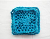 Crochet Coasters, doily, Square, Set of 5, Blue, for cups/ plates/ bottles