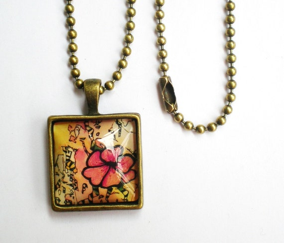 Cyber Monday Etsy Sale Square Flower Necklace, Illustrated Flower, Cabochon Pendant Necklace with Image and Glass Cabochon Black Friday Etsy