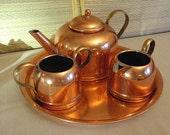 Beautiful Vintage Copper Tea Set