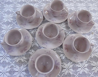 Priced Reduced 10.00 -- Vintage Mikasa  Lyric Pattern Cups And Saucers