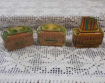 Salt and Pepper Set  CuteThree Piece San Francisco Souvenir