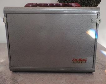 Price reduced 10.00 -- Vintage All Metal Slide File With Red Bakelite Handle