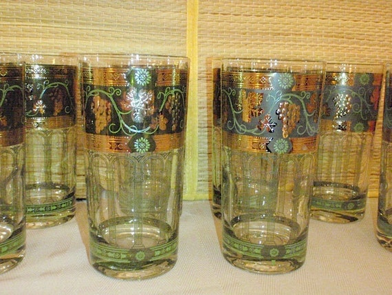 Vintage Cera Glassware--Golden Grapes On Green Band Highball Glasses