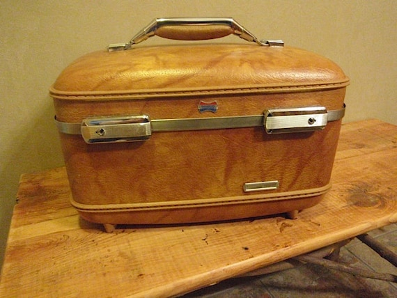Vintage Train Case--Marbled Tan and Brown American Tourister