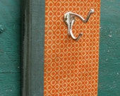 Vintage Book Wall Rack // Orange, Turquoise //  Vintage Brass Double Hook, Distressed White // 100% Upcycled // One-Of-A-Kind