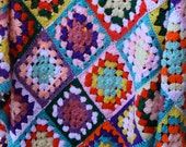 Granny Square's Afghan Multicolored Throw Handmade Free Shipping
