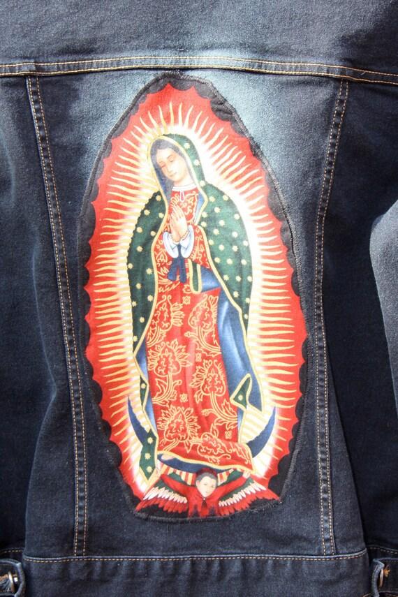Virgin of Guadalupe, Upcycled Denim Jacket  M/L