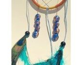 Deep-Blue Dreamcatcher With Glass Encased Dolphins and Peacock Feathers