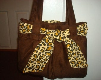 faux suede chocolate brown bag
