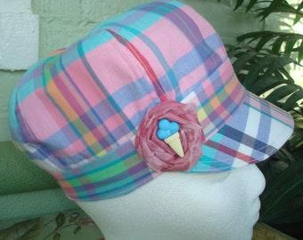 Cotton newsboy hat