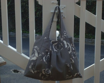 Gray and white floral bag