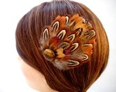 Pheasant Feather Hair Clip Fascinator with tigers eye, brown, burnt orange, gold, black. natural hairpiece. Handmade