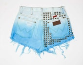 Reserved - WRANGLER High Waisted, Bleached & Dip Dyed Cyan, Heavily Pyramid Studded Denim Shorts