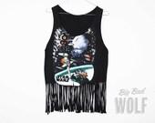 STAR WARS Death Star Fighter Pilot Shirt, cut into a crop, tank, tassel fringe top