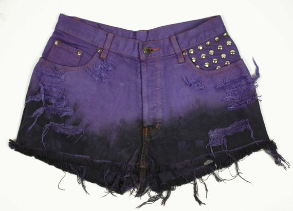 SALE - High Waisted, Bleached, Dyed Vibrant Purple & Dip Dyed Black, Silver Round Studded Denim Cutoff Shorts