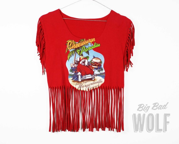 "Red JIMMY BUFFETT - ""Cheeseburger in Paradise"" Margaritaville shirt, tasseled into a fringed crop tee"