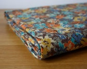 Vintage autumn floral fabric - Retro brown rust orange mustard yellow teal blue - new and unused