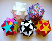 Paper Star Origami Color and Assemble Digital Download  PDF Paper Ornament Home decoration Stars, Small Gift, Kids