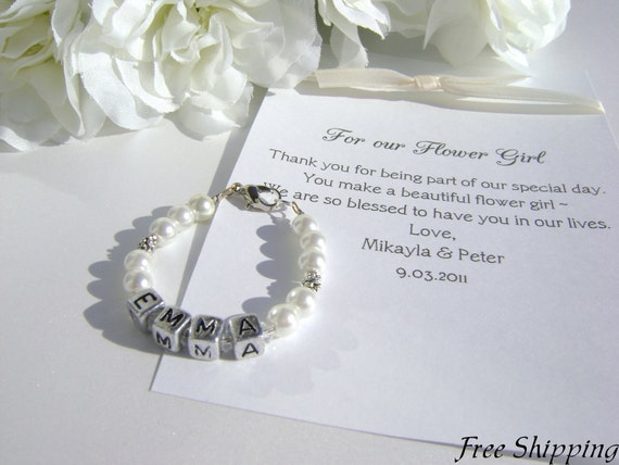 CRYSTALS for Flower Girl Gift, Personalized Bracelet, Pearls and Letter Blocks -- FREE Shipping/Gift Box
