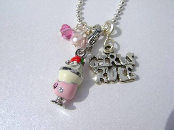Girls Charm Necklace - Pink Sparkle Ice Cream Sundae with GIRLS RULE Charm Necklace, Silver Chain   -- FREE Shipping/Gift Box