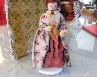 "Antique miniature Colonial  Doll   5"" tall rare"