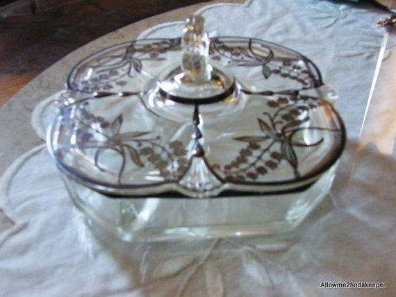 Paden City octagon candy dish with Sterling overlay Lily of the Valley""