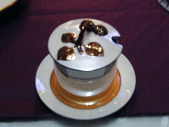 Vintage Lusterware Condiment Server 3 pieces white butterscotch bronze