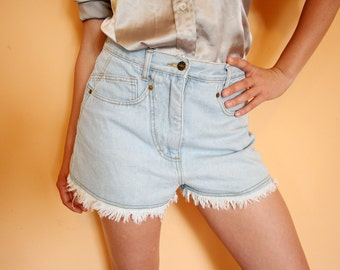 Vintage High Waist Frayed Cut Off Denim Shorts