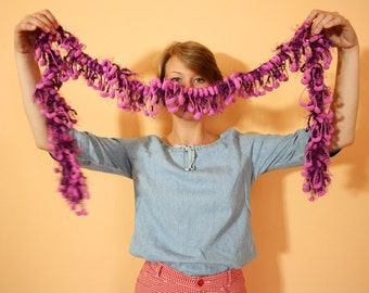 Vintage Kitsch Pink and Purple Soft and Fluffy Knit Scarf