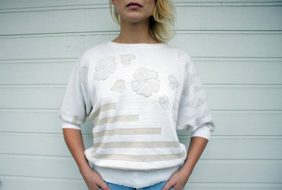 Shimmery White Vintage Batwing Flowers and Stripes Sweater