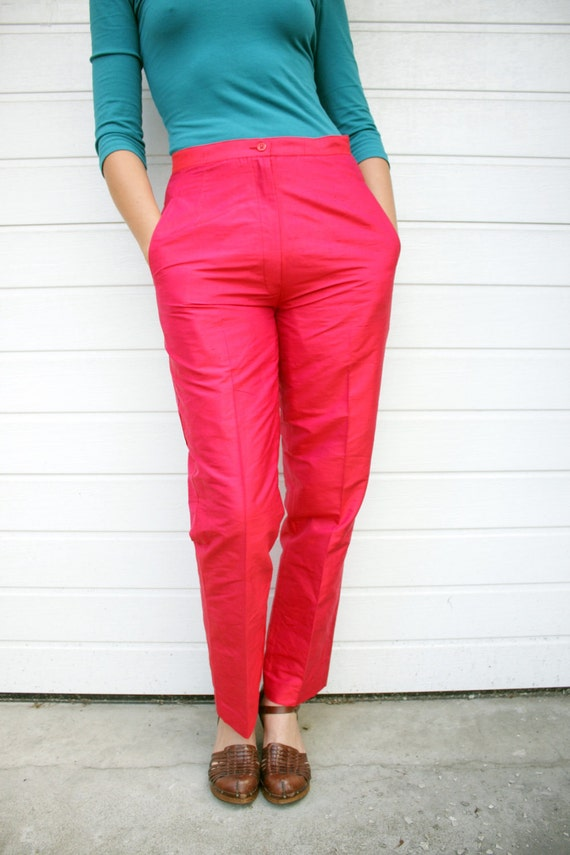 Vintage Shiny Red High Waist Silk Pants