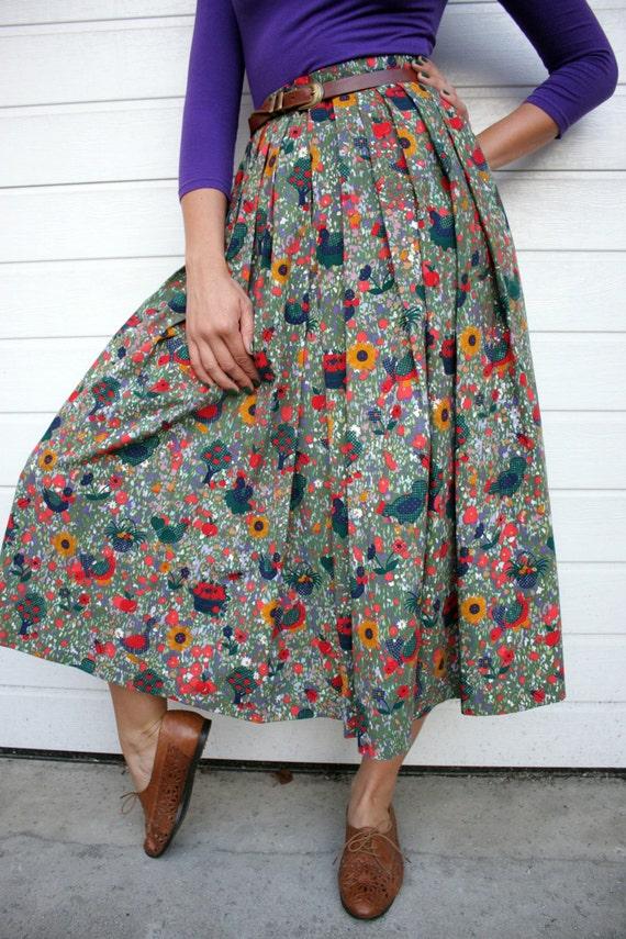Vintage Farm Scenery Full High Waist Skirt