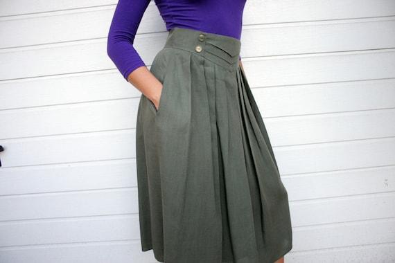 Vintage Military Green Pleated Skirt