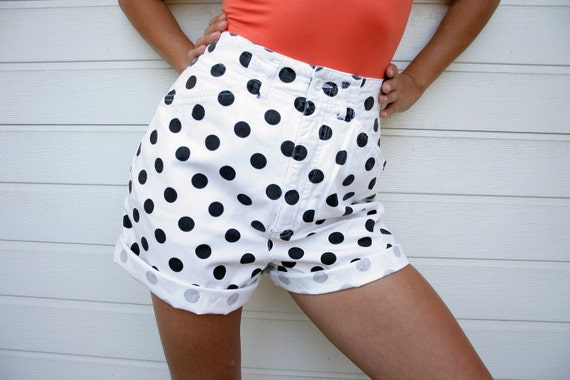 Vintage Street One Selected High Waist Polka Dot Shorts