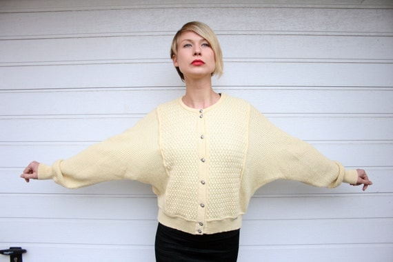 Vintage Pale Yellow / Butter Batwing Cardigan