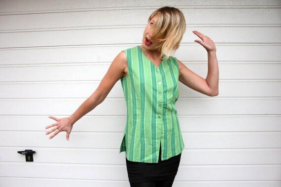 Vintage Vest In Shades Of Green