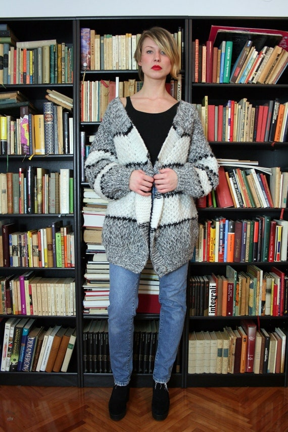 Vintage Hand Knit Slouchy Oversized Cardigan Sweater