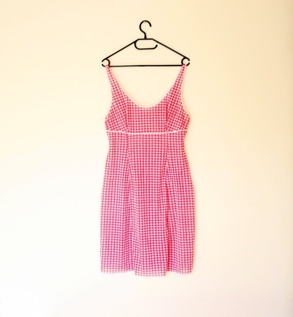 Vintage Houndstooth Red and White Sheer Sleeveless Slip Nightgown