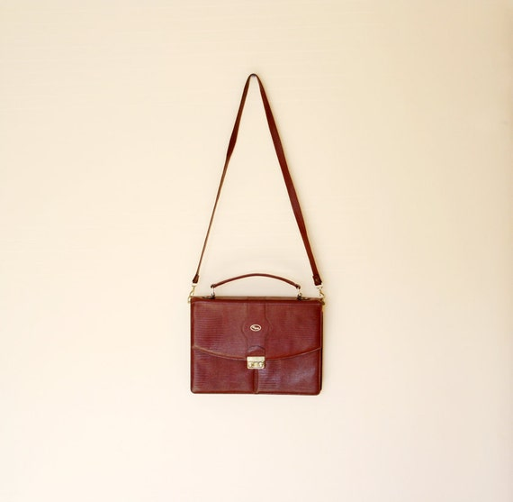 Vintage Rust Faux Reptile Leather Cross Body Briefcase