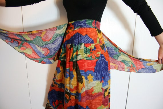 Vintage Colorful Wide Leg High Waist Culottes Size M