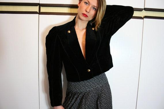 Vintage Black Velvet Avant Garde Puff Sleeves Cropped Jacket