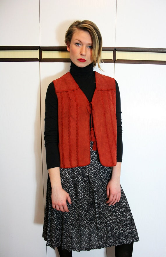 70s Rust Suede and Knit Vintage Vest