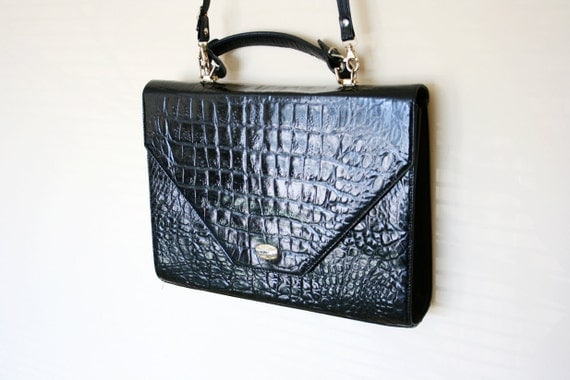Vintage Black Alligator Skin Embossed Patent Leather Messenger Bag