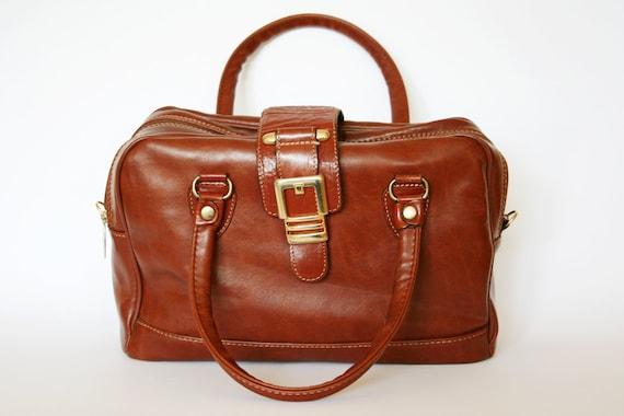 Vintage Cognac Brown Vinyl Carry On Weekender Bag