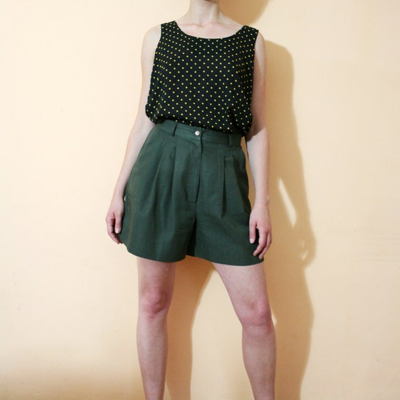 Vintage 80s Forest Green High Waist Pleated Trouser Shorts